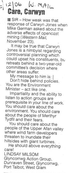 Western Mail Letter